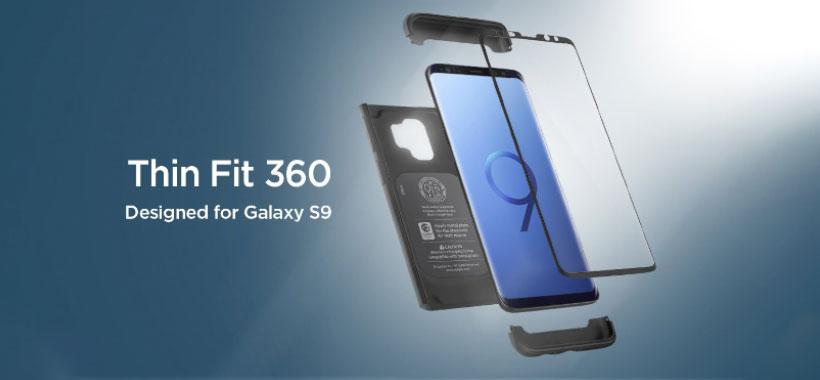 قاب محافظ و محافظ صفحه شیشه ای اسپیگن سامسونگ Galaxy S9