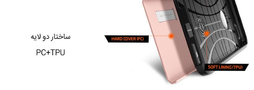 ساختار دو لایه قاب محافظ اسپیگن iPhone 6/6S Plus