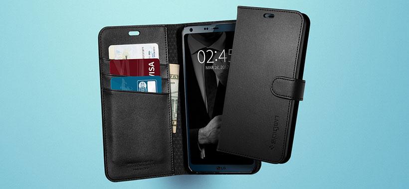 کیف محافظ اسپیگن الجی G6 با اسلات هایی برای قرار دادن کارت