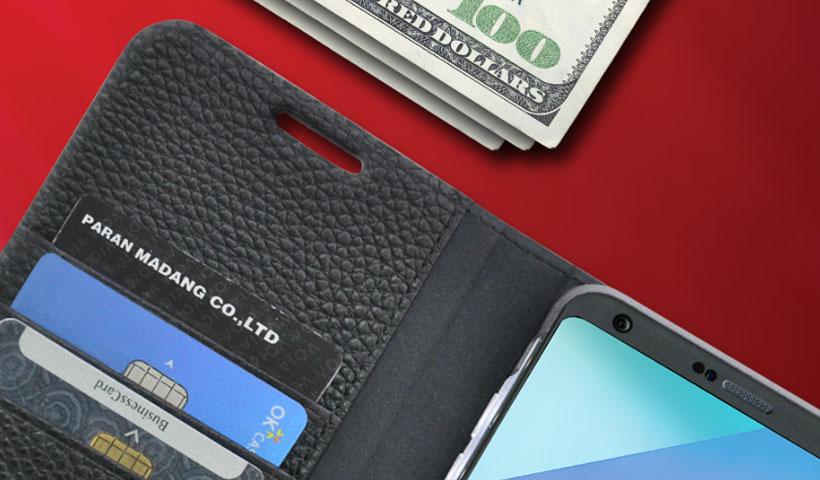 اسلات نگهداری کارت کیف چرمی اصلی ال جی G6