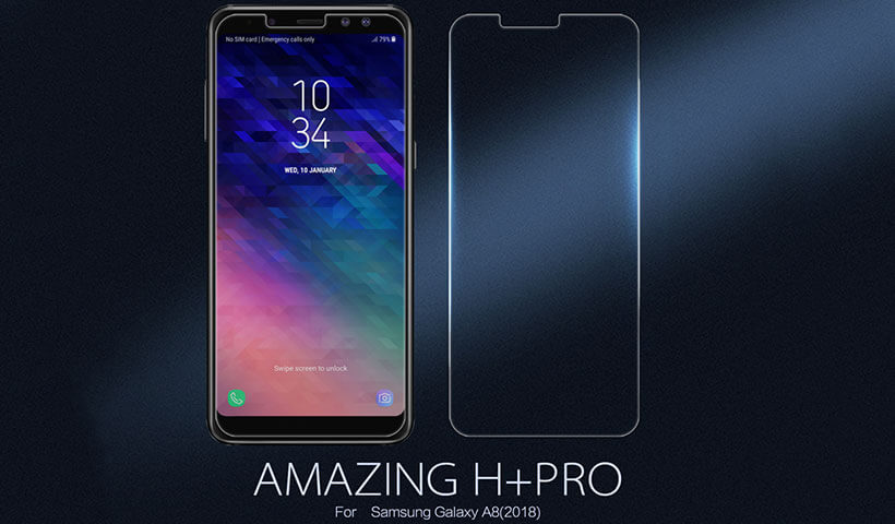 محافظ صفحه نمایش شیشهای نیلکین سامسونگ A8 2018