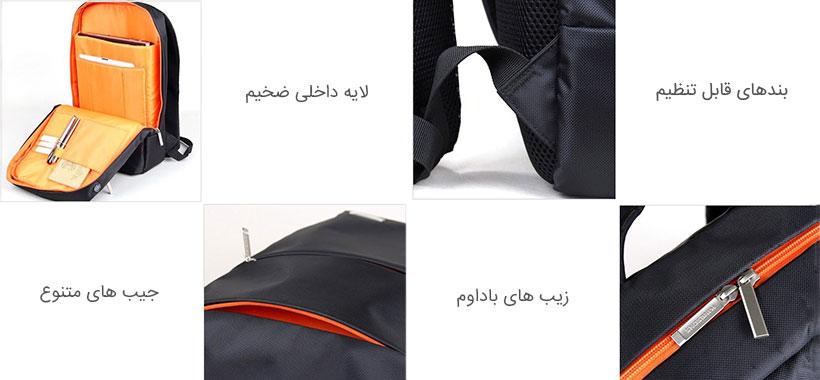 قسمت های مختلف کیف کوله پشتی لپ تاپ کینگ سانز