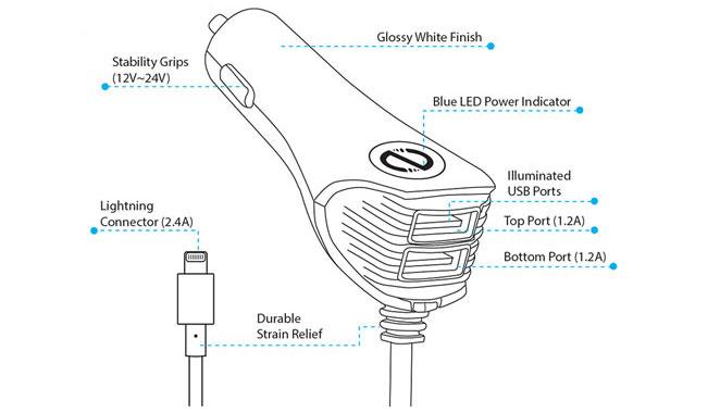 شارژر فندکی نزتک N420 DC Lightning MFi