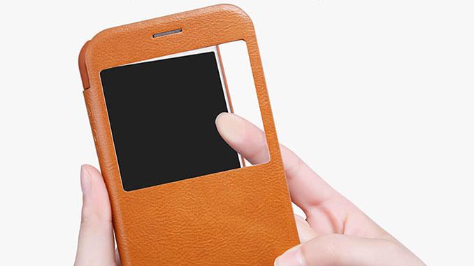 کیف چرمی نیلکین Galaxy A7 2017 با نمایشگر قابل لمس