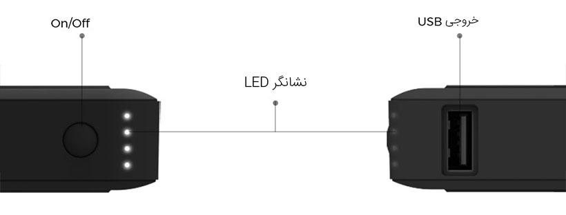 نشانگر LED تعبیه شده روی پاور بانک