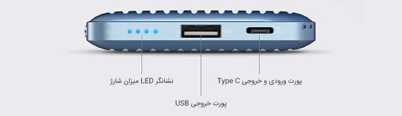پورت های متنوع و نشانگر LED در پاور بانک راک