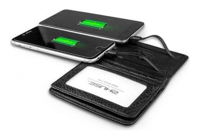 کیف کارت اعتباری و پاوربانک Zhuse 4000mAh Power Bank Genuine Leather Card Holder