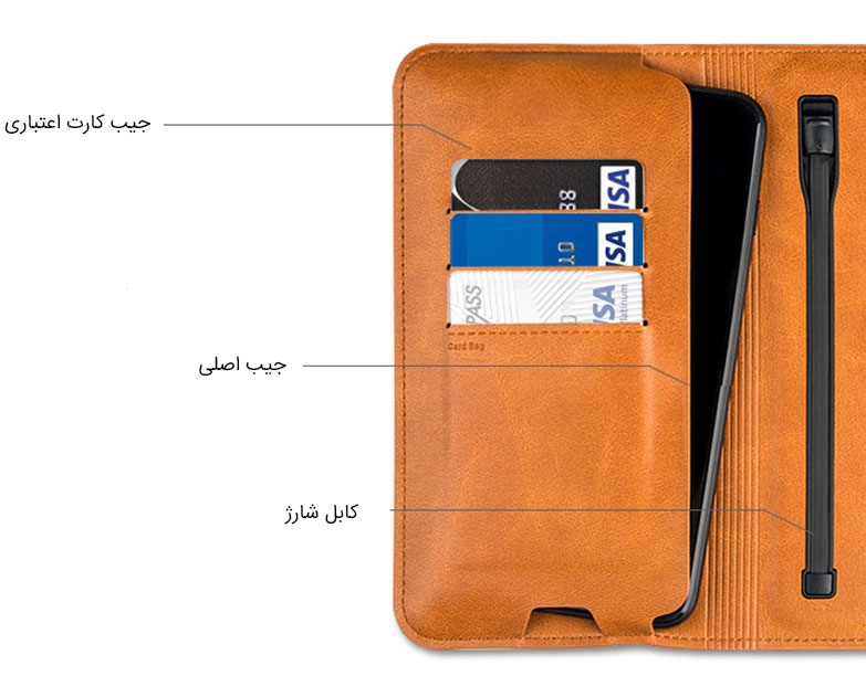 پاور بانک و کیف چرمی Zhuse 6800mAh Power Bank And Leather Bag