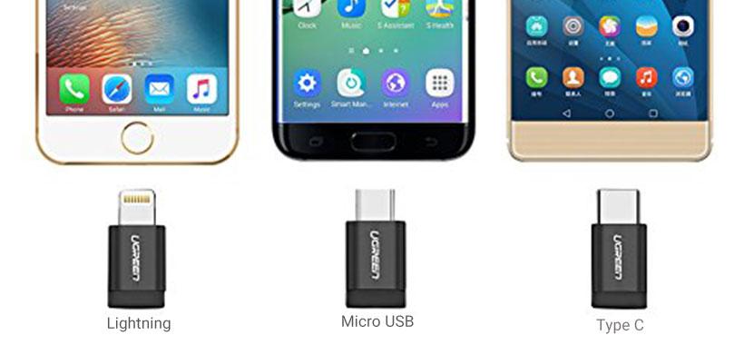کابل شارژ و انتقال داده سه سر Micro USB ,Type C و Lightning یوگرین
