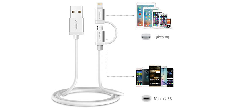 کابل تبدیل USB به Micro USB و Lightning یوگرین