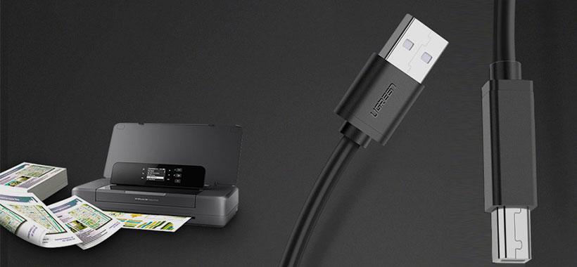 کابل پرینتر یوگرین Ugreen USB 2.0 AM To BM Print Cable 2M