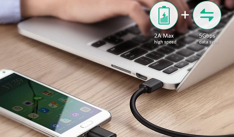 کابل شارژ و همگام سازی USB3.0 به Micro USB یوگرین