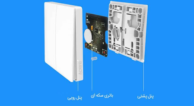 کلید هوشمند وایرلس دو پل شیائومی با نصب آسان و ظاهری استاندارد