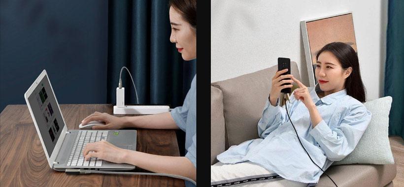 کابل سریع دو سر تایپ سی به سوزنی لپ تاپ بیسوس