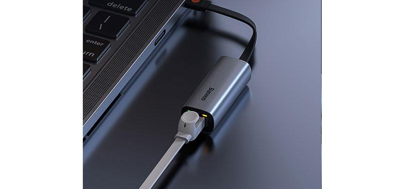هاب آداپتور USB و Type-C بیسوس مجهز به پورت LAN