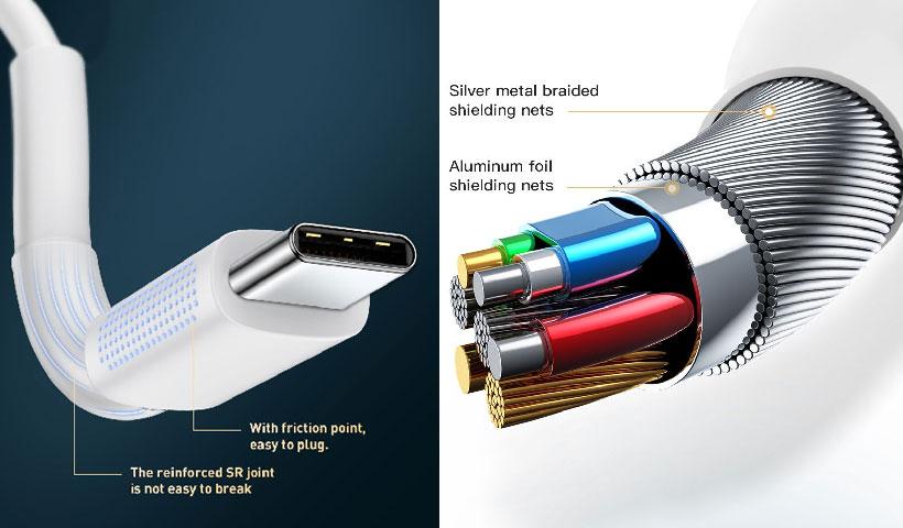 کابل شارژ سریع تایپ سی به لایتنینگ بیسوس BMX Mini White