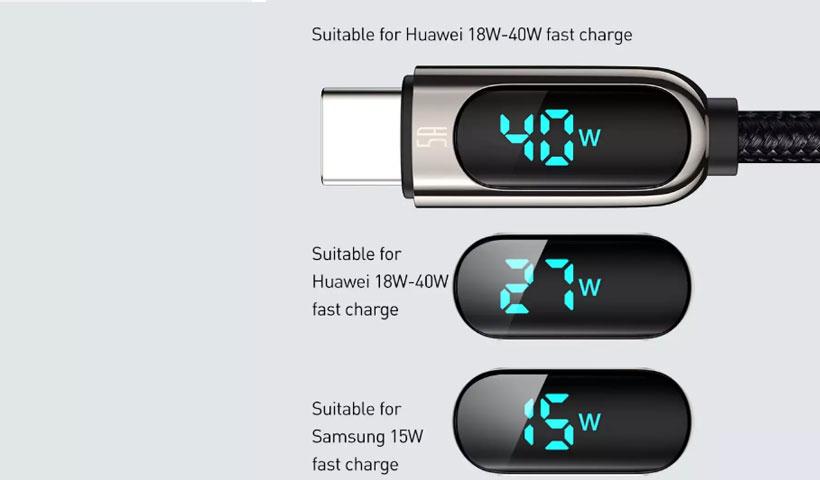 کابل بیسوس Display Fast Charging Data Cable