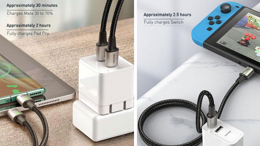 کابل بیسوس Zinc Magnetic Cable Type-C 100W