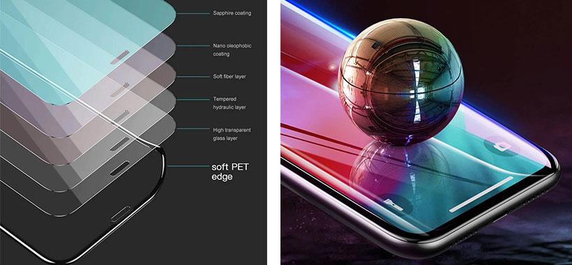 ساختار چندلایه محافظ صفحه آیفون XS Max