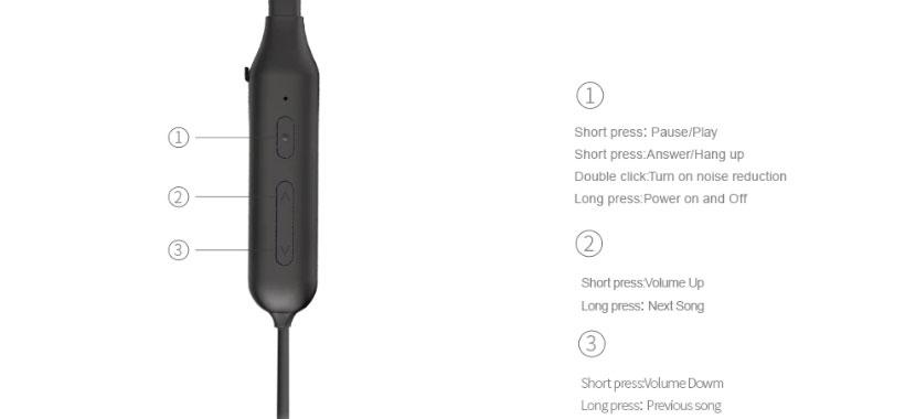 دکمه های کنترلی هندزفری بلوتوث بیسوس S15