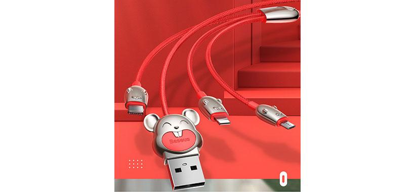 کابل شارژ بیسوس Three Mouse 3-in-1