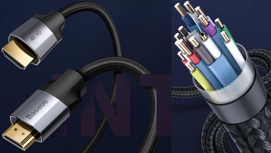کیفیت ساخت ممتاز کابل آداپتور HDMI  دو سر نری 4KHD بیسوس