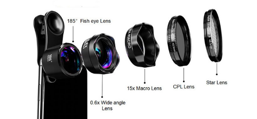 لنز fish eye, wide, macro,  cpl, start موبایل Lieqi LQ-185