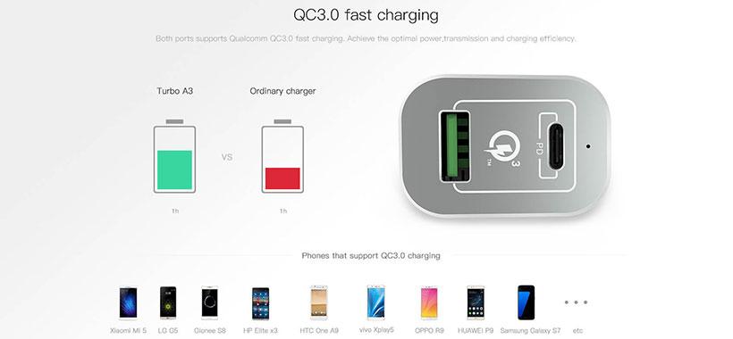 شارژ سریع QC3.0nillkin a3