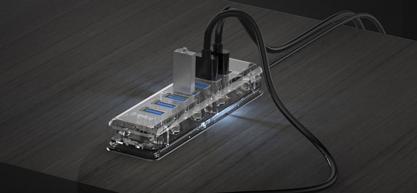 هاب یو اس بی اوریکو مجهز به چراغ نشانگر LED
