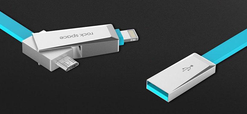 کابل شارژ دو سر Micro USB و Lighting راک