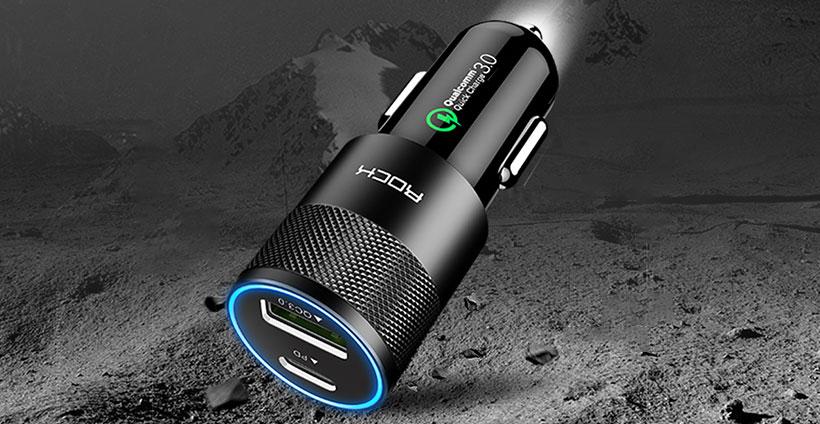 شارژر فندکی سریع راک Rock H5 PD Fast Charge Car Charger