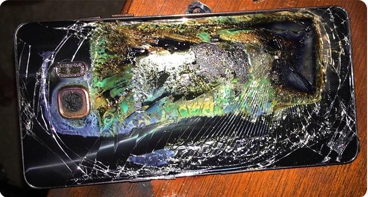 انفجار باتری نوت 7