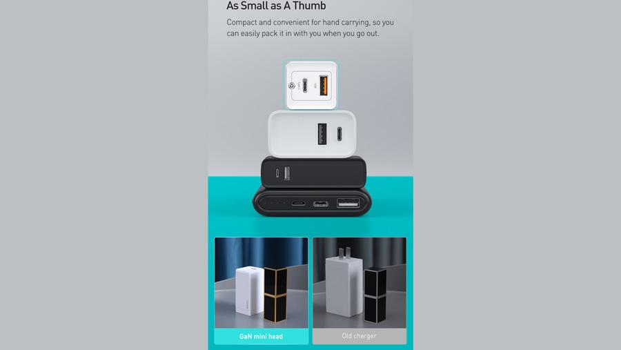 شارژر دیواری سریع 45 وات تایپ سی + یو اس بی بیسوس Baseus CCGaN45UC GaN2 Pro Type-C+USB-A Charger دارای ابعاد کوچک