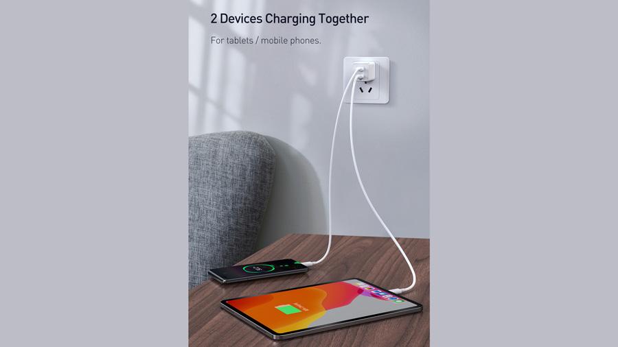 شارژر دیواری سریع 45 وات تایپ سی + یو اس بی بیسوس Baseus CCGaN45UC GaN2 Pro Type-C+USB-A Charger دارای قابلیت شارژ همزمان دو دستگاه