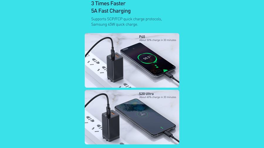 شارژر دیواری سریع 45 وات تایپ سی + یو اس بی بیسوس Baseus CCGaN45UC GaN2 Pro Type-C+USB-A Charger شارژر گوشی همراه در مدت بسیار کوتاه