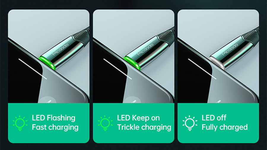 کابل شارژ سریع و انتقال داده لایتنینگ مک دودو Mcdodo CA-806 Auto Power Off Lightning Data Cable 1.8m دارای نشانگر ال ای دی هوشمند