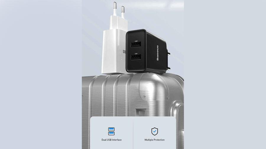 شارژر دیواری 10.5 واتی بیسوس مدل TC-012 EU دارای انواع محافظ های الکتریکی در برابر ولتاژ و جریان بیش از حد