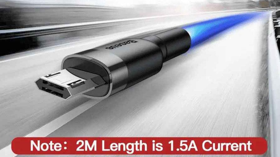 پشتیبانی از شارژ سریع کابل شارژ و انتقال دیتای بیسوس مدل Baseus cafule Cable USB For Micro 2A 2m