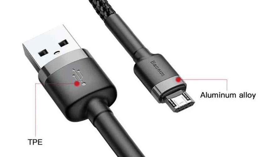 اتصال محکم سیم به سوکت ها در کابل شارژ و انتقال دیتای بیسوس مدل Baseus cafule Cable USB For Micro 2A 2m