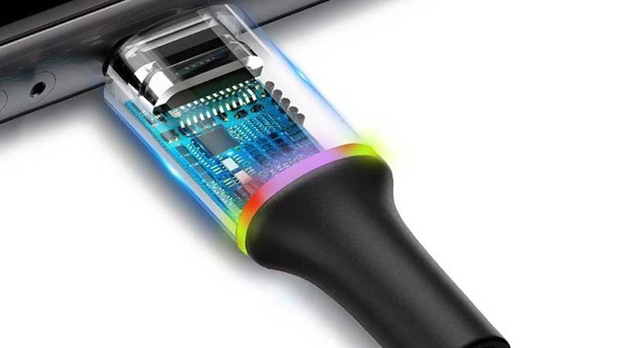 وجود تراشه کنترل جریان در داخل پایه کانکتور میکرو یو اس بی کابل انتقال دیتا و شارژ بیسوس 3 متری
