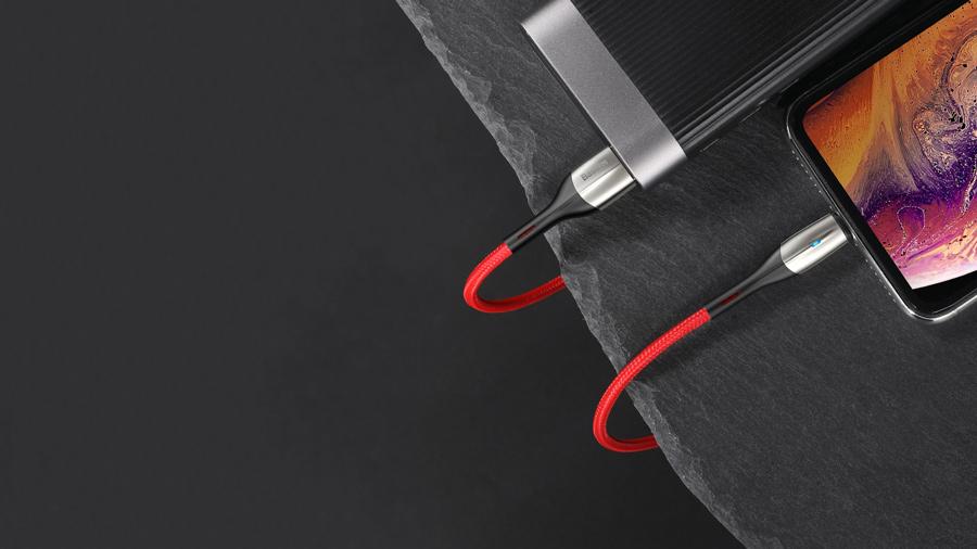 کابل شارژ و انتقال دیتای نیم متری لایتنینگ بیسوس Baseus Horizontal Data Cable Lightning 50cm پشتیبانی از شارژ سریع