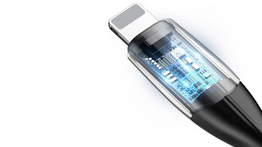 کابل شارژ و انتقال دیتای نیم متری لایتنینگ بیسوس Baseus Horizontal Data Cable Lightning 50cm دارای کنترل هوشمند جریان