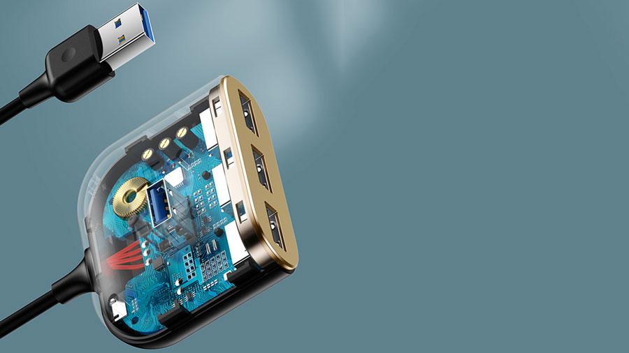 هاب یو اس بی بیسوس مدل BASEUS SQUARE ROUND 4 in 1 USB HUB Adapter (USB3.0 to USB3.0*1+USB2.0*3) 1m Cable دارای تراشه کنترل پورت ها