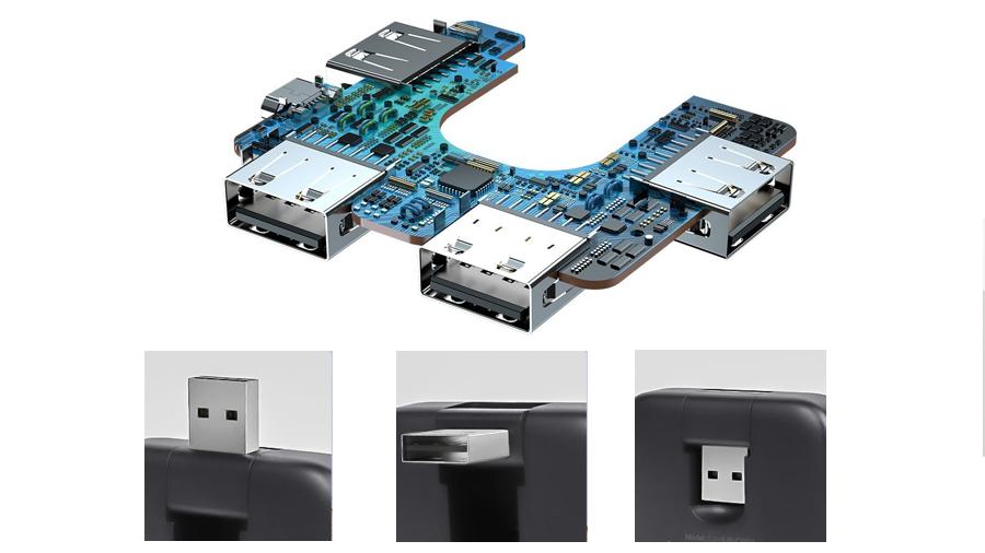 تعداد پورت های هاب بیسوس مدل USB بیسوس مدل Baseus Fully folded portable 4-in-1 HUB (USB2.0 to USB2.0x4 with power supply) Black