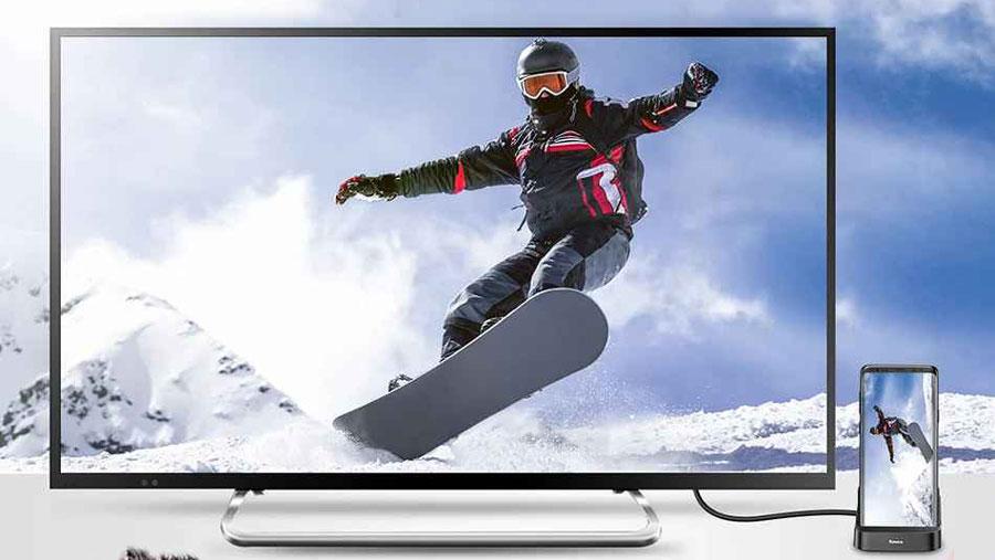 قابلیت پشتیبانی از ویدئو های 4K انتقالی از موبایل به تلویزیون توسط هاب و استند شارژ موبایل بیسوس مدل Baseus Mate Docking Type-C mobile phone intelligent HUB docking station PB1837Z