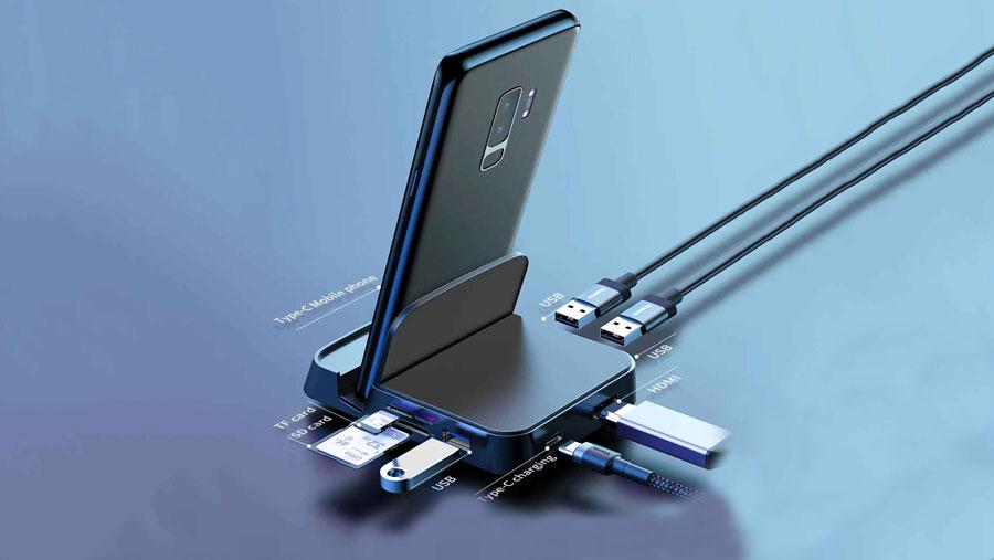 وجود متعدد پورت ها در هاب و استند شارژ موبایل بیسوس مدل Baseus Mate Docking Type-C mobile phone intelligent HUB docking station PB1837Z