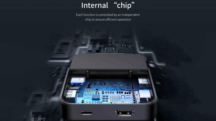تراشه داخلی هاب و داک شارژر بیسوس مدل Baseus Mate Docking Type-C mobile phone intelligent HUB docking station PB1837Z برای کنترل پورت ها