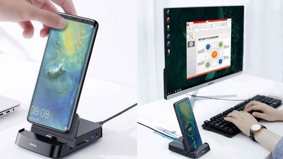 قابلیت شارژ سریع 15 واتی در هاب و استند شارژ موبایل بیسوس مدل Baseus Mate Docking Type-C mobile phone intelligent HUB docking station PB1837Z