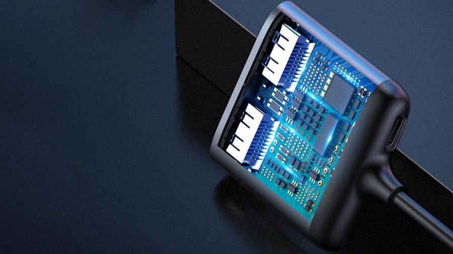تصویر خروجی شفاف، بدون تاخیر و پرش در هاب تبدیل تایپ سی به اچ دی ام آی بیسوس Baseus Enjoy USB-C Hub USB-C to HDMI x2 + PD