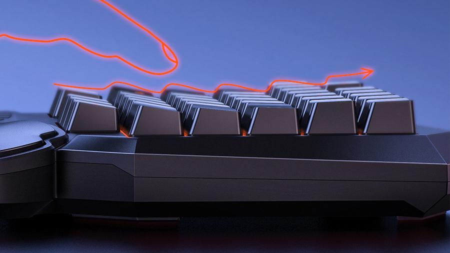 طراحی موجی شکل کیبورد بیسوس GAMO One-Handed Gaming Keyboard GK01